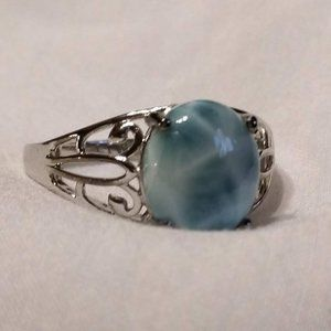 Gorgeous Blue Stone Sterling Silver Ring